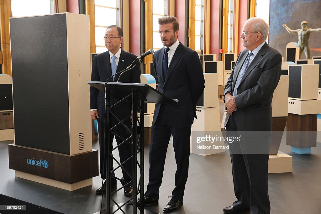 Goodwill Ambassador David Beckham, UN Secretary General Ban Ki-Moon and UNICEF Executive Director Anthony Lake unveil a digital installation to bring the voices of young people to the UN General Assembly at United Nations on September 24, 2015 in New York City.