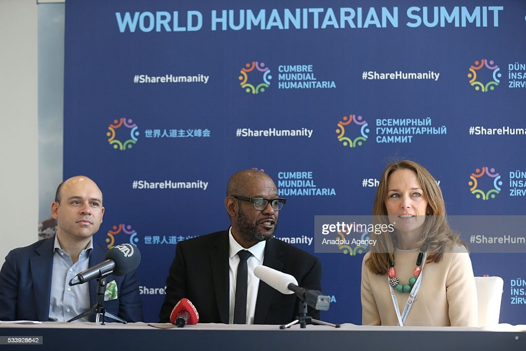 Goodwill Ambassador for Peace and Reconciliation and Founder and CEO of The Whitaker Peace & Development Initiative (WPDI) US Actor Forest Whitaker (C) delivers a speech on his works with Ericsson and his experiences on peace building using technology as he attends a press conference within held within World Humanitarian Summit in Istanbul, Turkey on May 24, 2016.