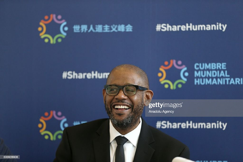 Goodwill Ambassador for Peace and Reconciliation and Founder and CEO of The Whitaker Peace & Development Initiative (WPDI) US Actor Forest Whitaker delivers a speech on his works with Ericsson and his experiences on peace building using technology as he attends a press conference within held within World Humanitarian Summit in Istanbul, Turkey on May 24, 2016.