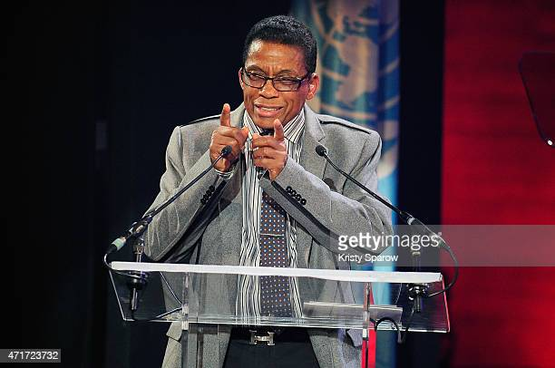 Goodwill Ambassador Herbie Hancock speaks on stage during the International Jazz Day 2015 Global Concert at UNESCO on April 30 2015 in Paris France