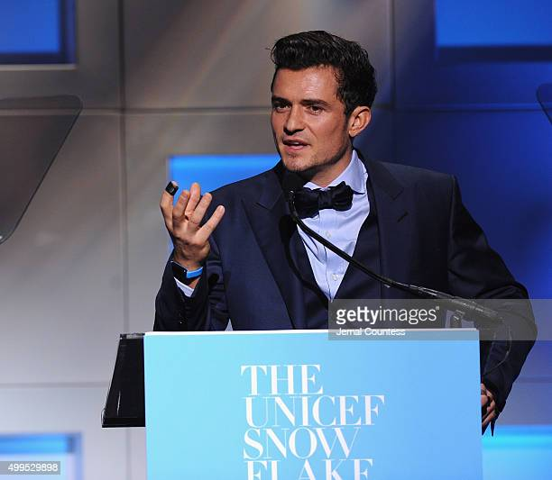 Audrey Hepburn Humanitarian Award Orlando Bloom speaks on stage during the 11th Annual UNICEF Snowflake Ball Honoring Orlando Bloom Mindy Grossman...