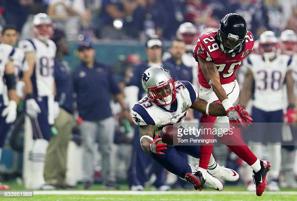 J Goodwin of the Atlanta Falcons breaks up a pass intended for Dion Lewis of the New England Patriots in the third quarter during Super Bowl 51 at...