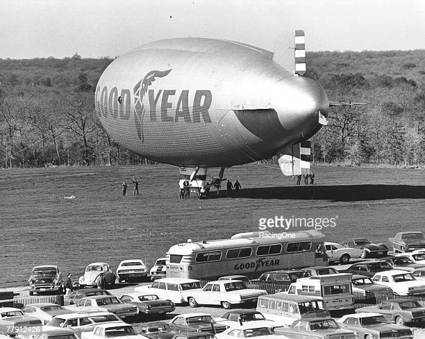 Goodyear blimp at the Daytona 500 sometime during the 1960s