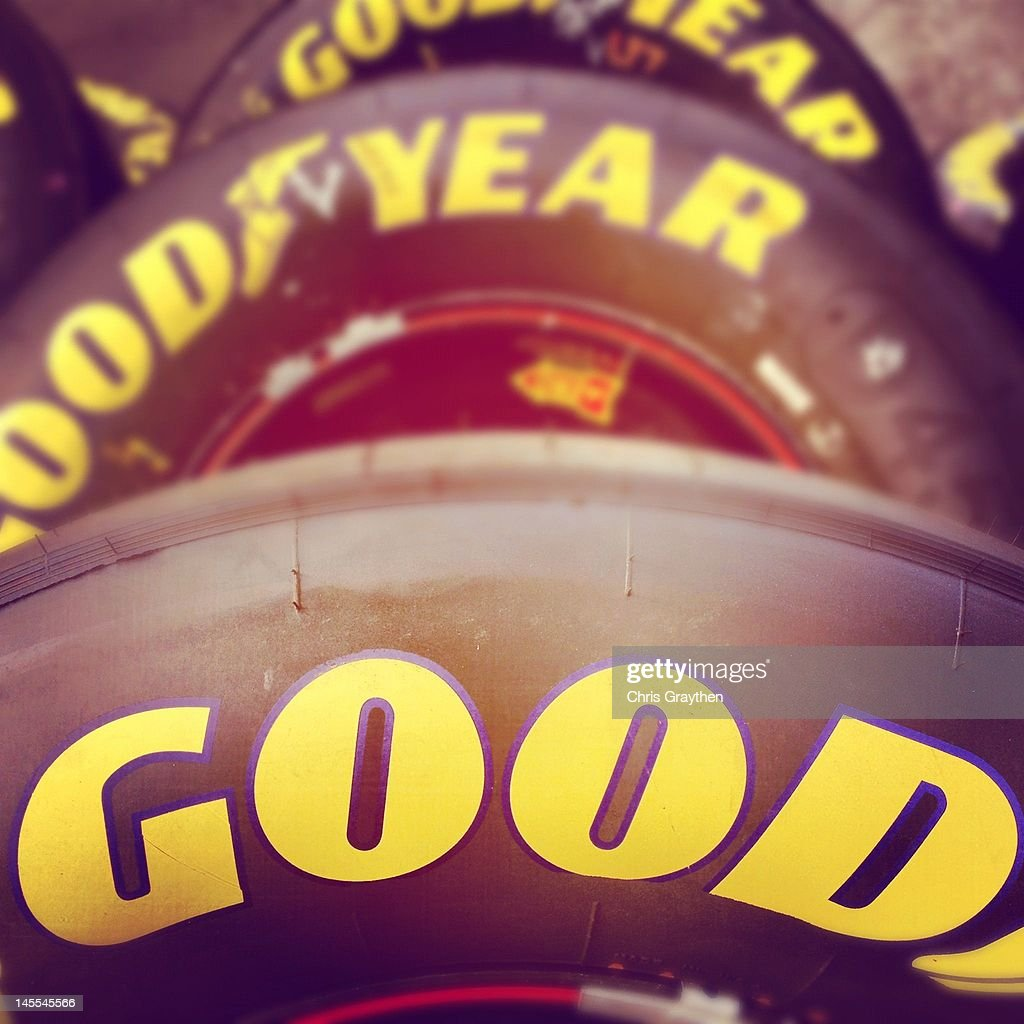 Goodyear Eagle racing tyres sit in the garage area prior to the NASCAR Sprint Cup Series Coca-Cola 600 at Charlotte Motor Speedway on May 27, 2012 in Concord, North Carolina.