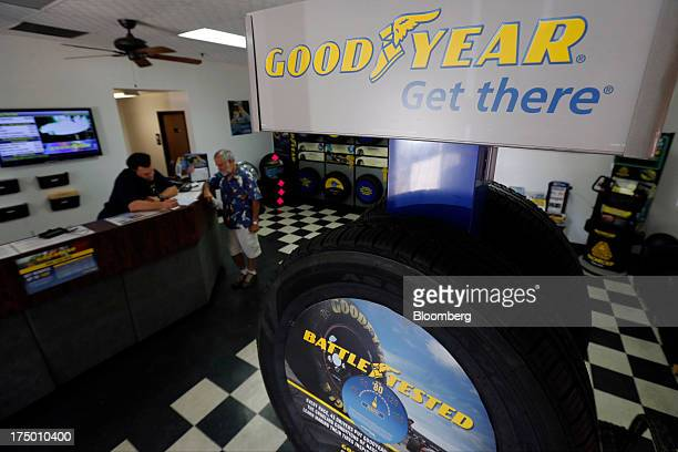 Goodyear Tire Rubber Co tires are displayed for sale at Certified Tire and Service Centers a Goodyear dealership in Huntington Beach California US on...