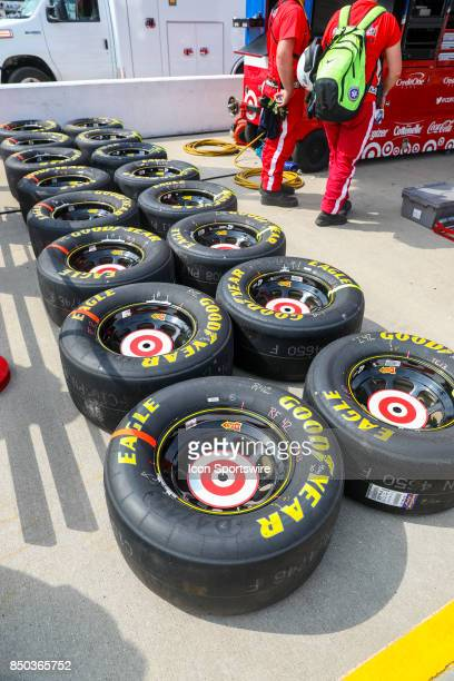 Goodyear tires ready for the Chip Ganassi Racing Target Chevy prior to the start of the the Tale of the Turtles 400 on September 17 at Chicagoland...