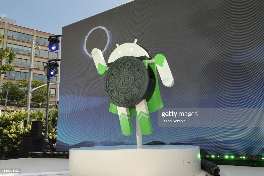 Google and Oreo reveal Android OREO during the solar eclipse at the 14th street park on August 21, 2017 in New York City.