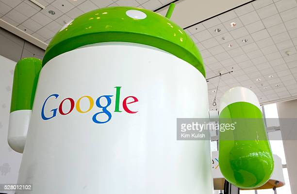Google Android signs on display during the Google I/O Developer Conference in San Francisco California