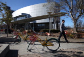 Google bicycles are seen parked outside of Google headquarters on January 30 2014 in Mountain View California Google reported a 17 percent rise in...
