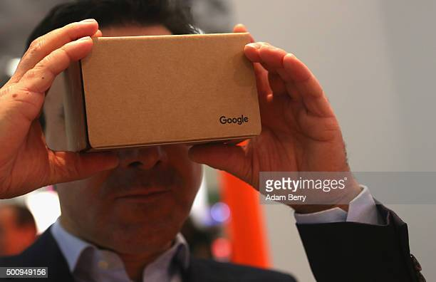 Google Cardboard headset is seen on December 11 2015 in Berlin Germany The foldout virtual reality cardboard mount for a mobile phone is usable with...