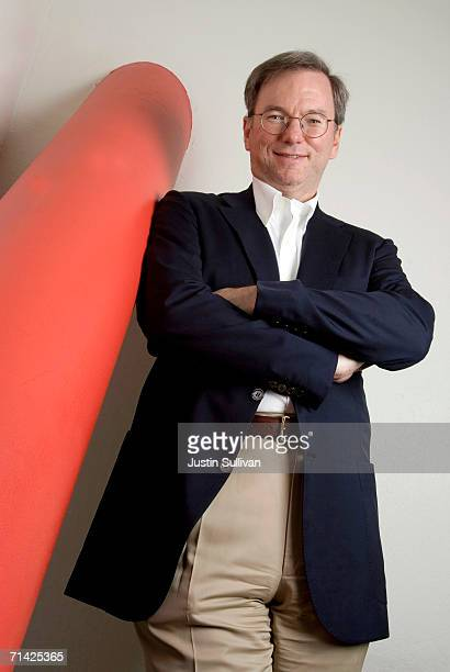 Google CEO Eric Schmidt poses at the Google headquarters on May 11 2006 in Mountain View California