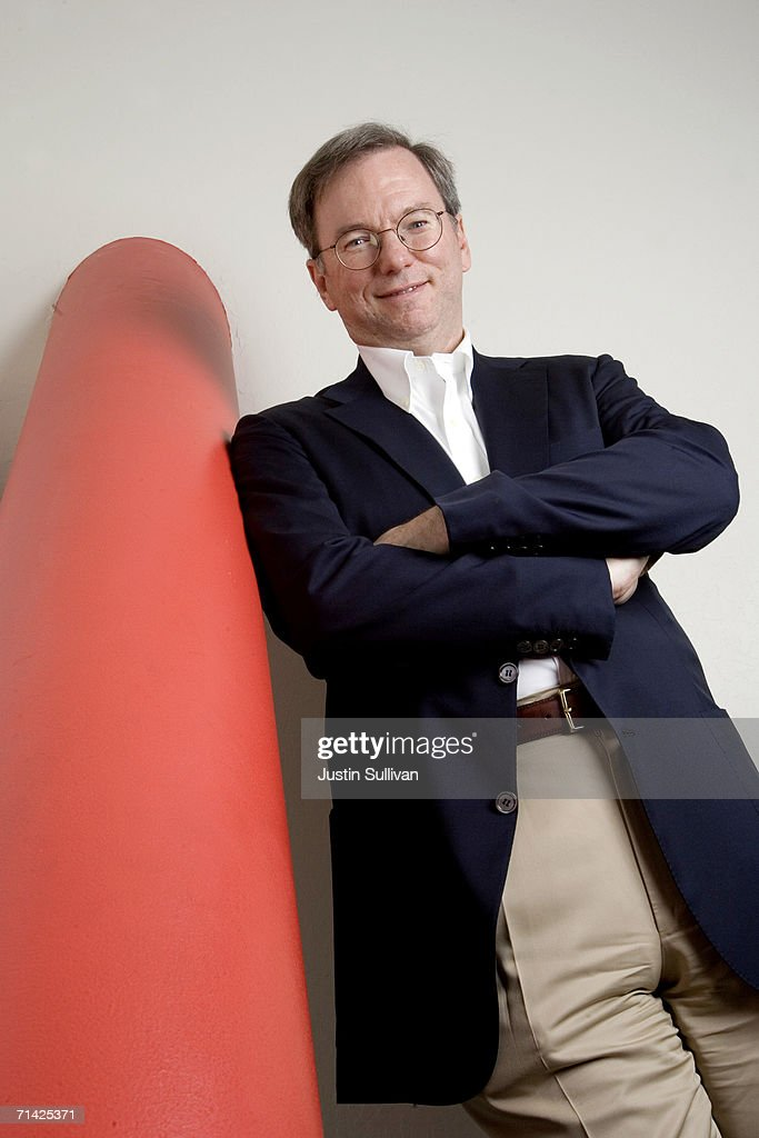 Google CEO <a gi-track='captionPersonalityLinkClicked' href=/galleries/search?phrase=Eric+Schmidt&family=editorial&specificpeople=5515021 ng-click='$event.stopPropagation()'>Eric Schmidt</a> poses at the Google headquarters on May 11, 2006 in Mountain View, California.