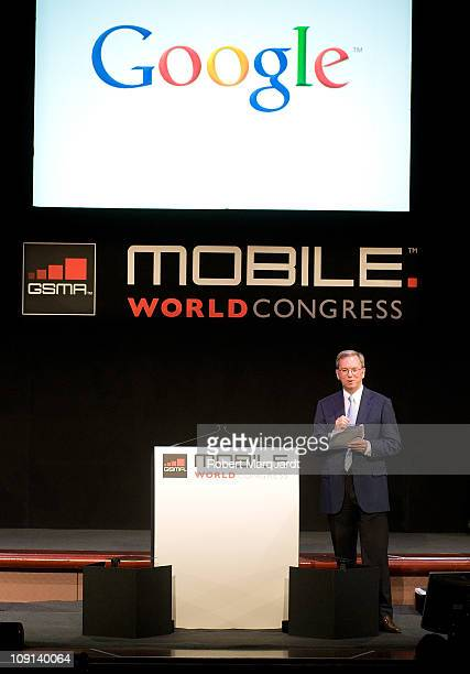 Google CEO Eric Schmidt speaks at the Mobile World Congress 2011 on February 15 2011 in Barcelona Spain The Mobile World Congress hosts some of the...