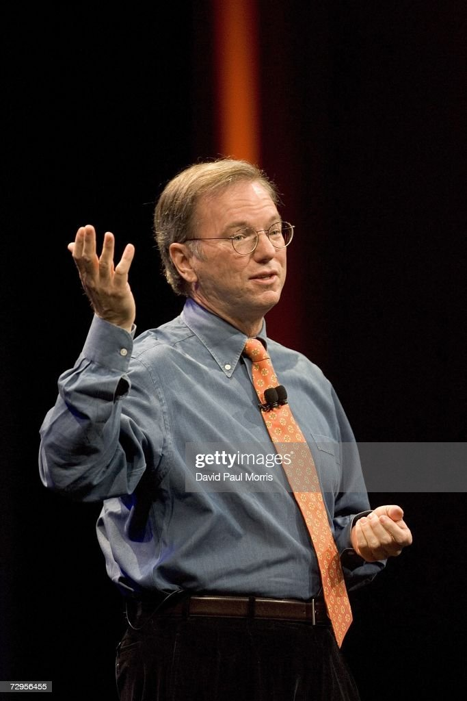 Google CEO Eric Schmidt speaks during the keynote speech at Macworld on January 9, 2007 in San Francisco, California. During the keynote Job's introduced the new iPhone which will combine a mobile phone, a widescreen iPod with touch controls and a internet communications device with the ability to use email, web browsing, maps and searching. The iPhone will start shipping in the US in June 2007.