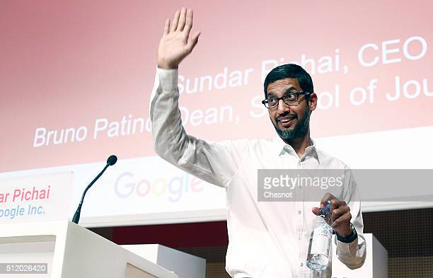 Google CEO Sundar Pichai gestures after his speech to the Sciences Po students on February 24 2016 in Paris France For his first European tour since...