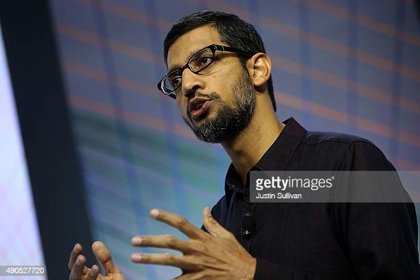 Google CEO Sundar Pichai speaks during a Google media event on September 29 2015 in San Francisco California Google unveiled its 2015 smartphone...