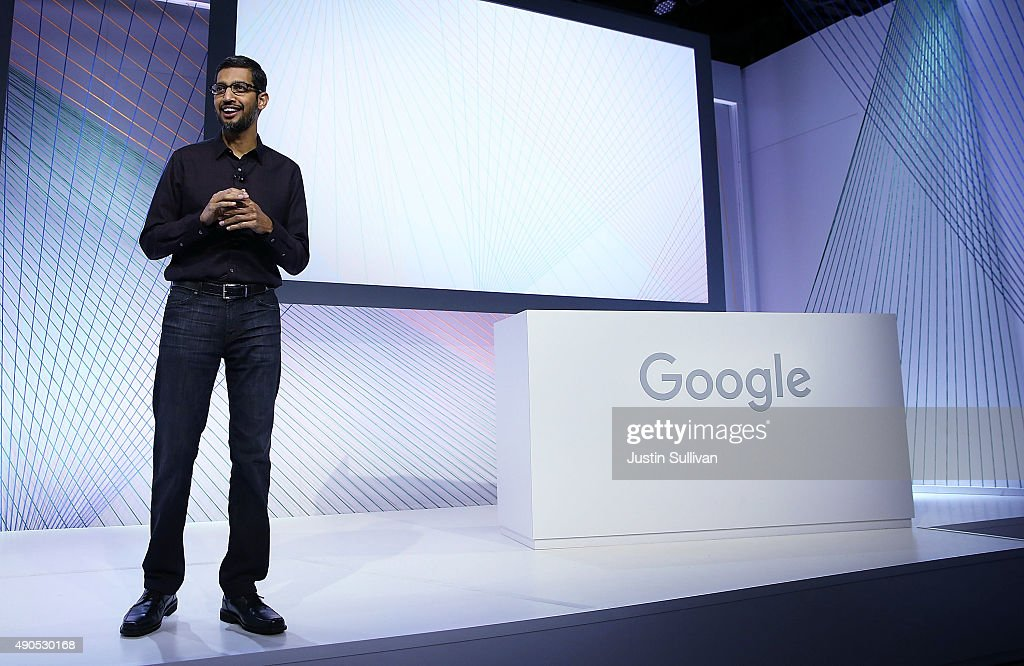 Google CEO <a gi-track='captionPersonalityLinkClicked' href=/galleries/search?phrase=Sundar+Pichai&family=editorial&specificpeople=7768399 ng-click='$event.stopPropagation()'>Sundar Pichai</a> speaks during a Google media event on September 29, 2015 in San Francisco, California.