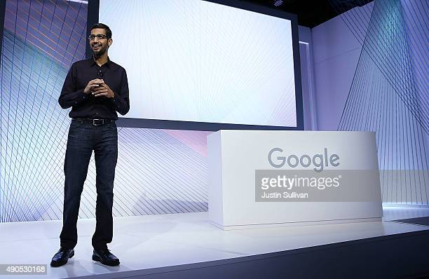 Google CEO Sundar Pichai speaks during a Google media event on September 29 2015 in San Francisco California
