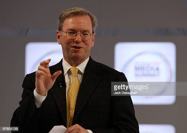 Google Chairman and CEO Eric Schmidt adresses the audience at the Abu Dhabi Media Summit on March 10 2010 in Abu Dhabi United Arab Emirates Featuring...