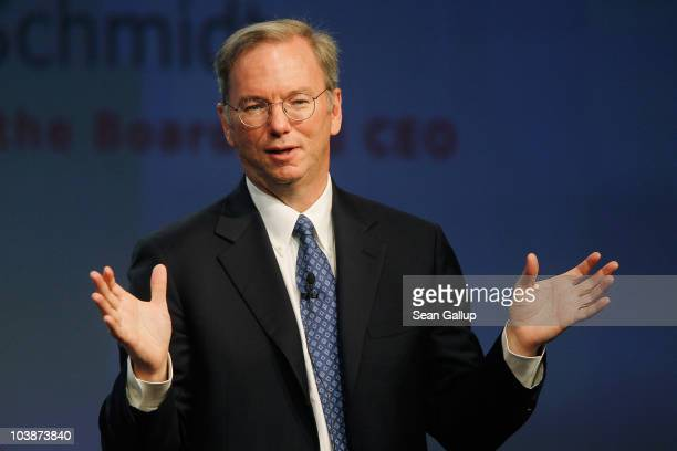 Google Chairman and CEO Eric Schmidt delivers the closing keynote speech at the 2010 IFA technology trade fair at Messe Berlin on September 7 2010 in...
