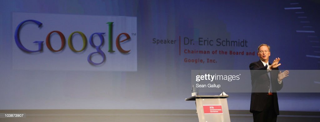 Google Chairman and CEO Eric Schmidt delivers the closing keynote speech at the 2010 IFA technology trade fair at Messe Berlin on September 7, 2010 in Berlin, Germany. The IFA 2010 is open to the public from September 3-8.