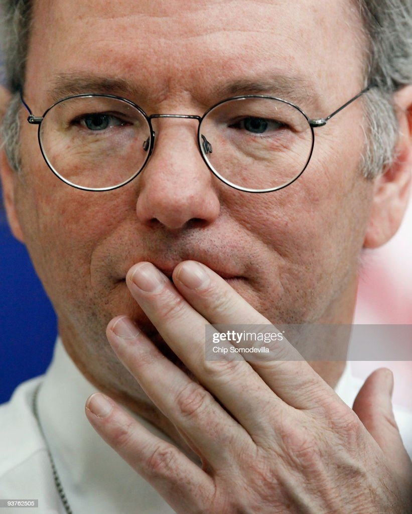 Google Chairman and CEO Eric Schmidt participates in the Obama administration's Jobs and Economic Growth Forum in the Eisenhower Executive Office Building December 3, 2009 in Washington, DC. The White House is billing the forum as is an opportunity for Obama and his economic team to hear from CEOs, small business owners, labor leaders and nonprofit heads about economic policy.