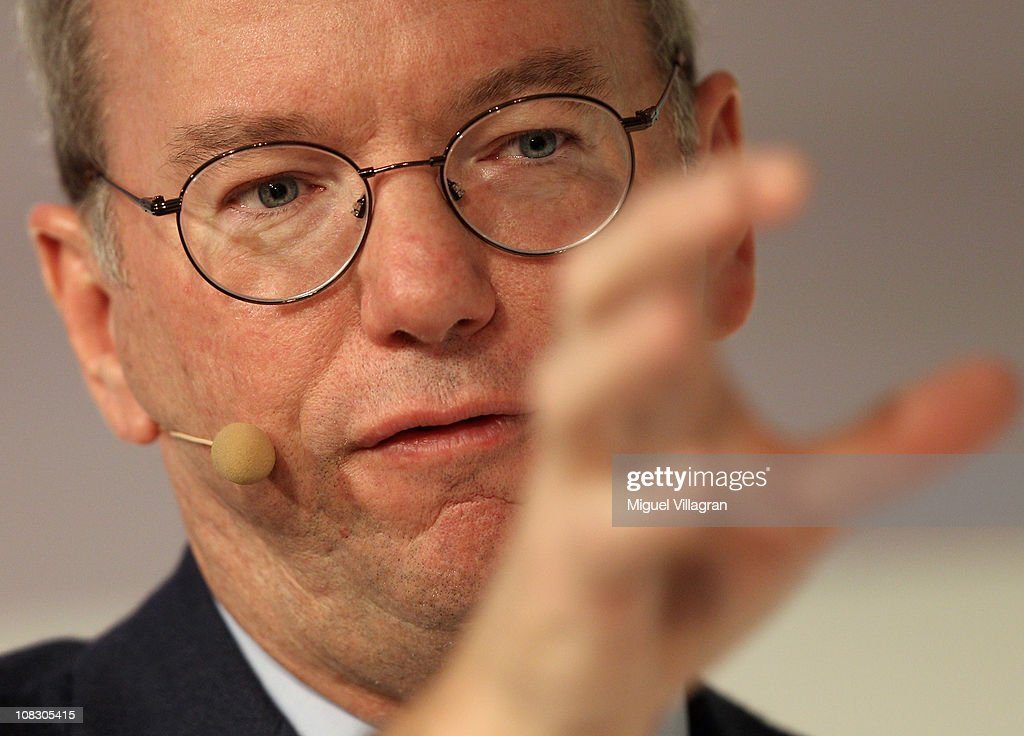 Google Chairman and CEO <a gi-track='captionPersonalityLinkClicked' href=/galleries/search?phrase=Eric+Schmidt&family=editorial&specificpeople=5515021 ng-click='$event.stopPropagation()'>Eric Schmidt</a> smiles as he delivers the closing keynote speech at the Digital Life Design (DLD) conference at HVB Forum on January 25, 2011 in Munich, Germany. DLD brings together global leaders and creators from the digital world.