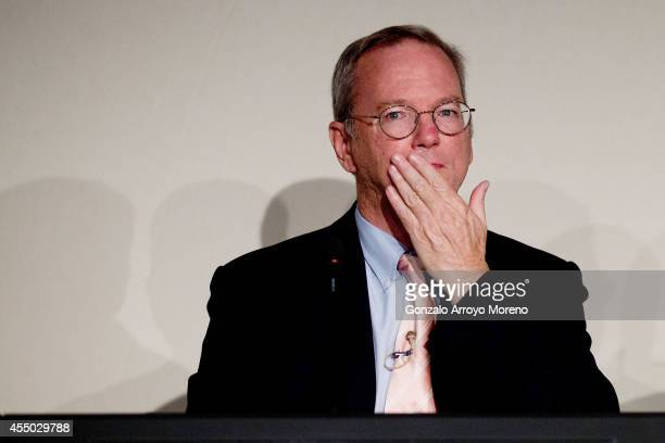 Google Chairman Eric Schmidt cover his mouth during an advisory council about The Right to be Forgotten at Casa de America on September 9 2014 in...