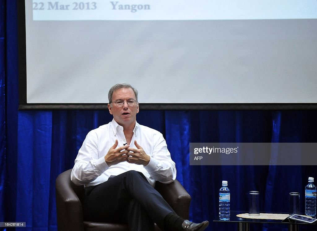 Google chairman Eric Schmidt speaks during a conference at a technology park in Yangon on March 22, 2013. Schmidt's stop in Myanmar is part of a tour of Asia which also took him to North Korea in January. AFP PHOTO/Ye Aung THU