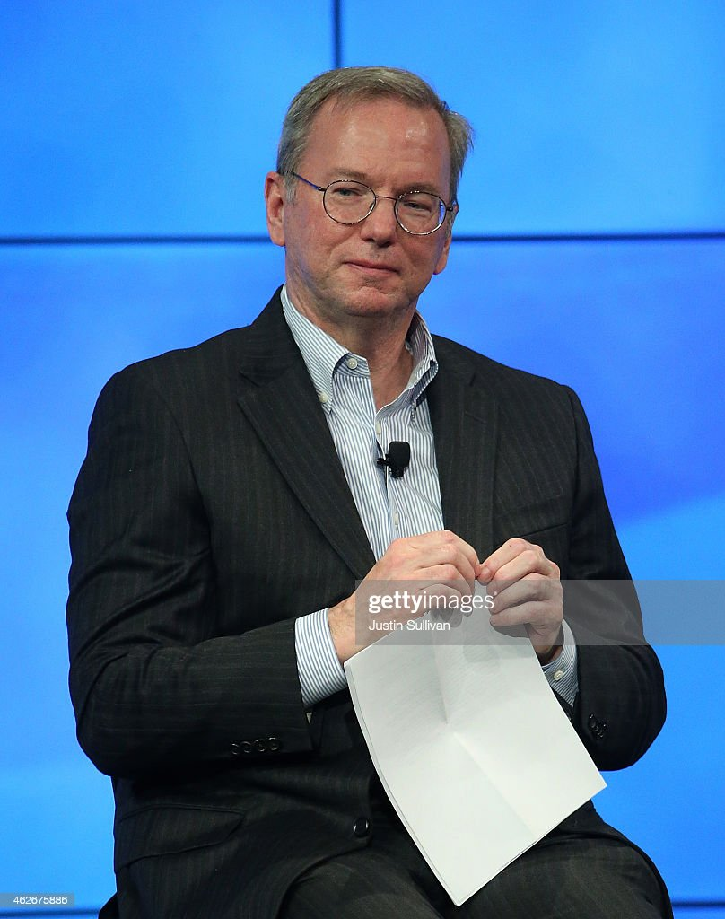 Google Chairman <a gi-track='captionPersonalityLinkClicked' href=/galleries/search?phrase=Eric+Schmidt&family=editorial&specificpeople=5515021 ng-click='$event.stopPropagation()'>Eric Schmidt</a> speaks during a fireside chat with U.S. Transportation Secretary Anthony Foxx at the Google headquarters on February 2, 2015 in Mountain View, California. U.S. Transportation Secretary Anthony Foxx joined Google Chairman <a gi-track='captionPersonalityLinkClicked' href=/galleries/search?phrase=Eric+Schmidt&family=editorial&specificpeople=5515021 ng-click='$event.stopPropagation()'>Eric Schmidt</a> for a fireside chat where he unveiled Beyond Traffic, a new analysis from the U.S. Department of Transportation that anticipates the trends and choices facing our transportation system over the next three decades.