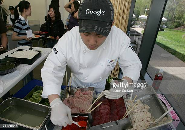 Google chef make hand roll sushi for employees at the Pacific Cafe at the Googleplex May 11 2006 in Mountain View California