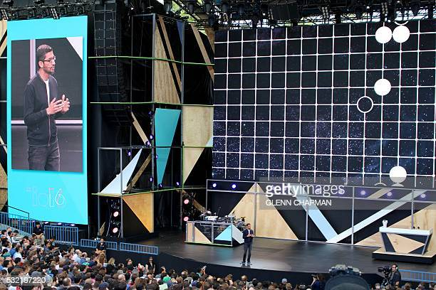Google chief executive Sundar Pichai outlines a future rich with artificial intelligence at the Internet firm's annual developers gathering in the...