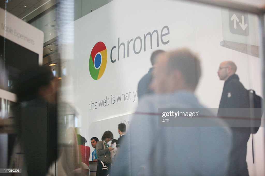 Google Chrome's logo is seen at Google's annual developer conference, Google I/O, at Moscone Center in San Francisco on June 28, 2012 in California. AFP PHOTO / Kimihiro Hoshino