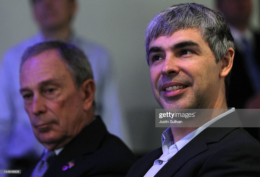 Google co-founder and CEO <a gi-track='captionPersonalityLinkClicked' href=/galleries/search?phrase=Larry+Page&family=editorial&specificpeople=753550 ng-click='$event.stopPropagation()'>Larry Page</a> (R) and New York City Mayor <a gi-track='captionPersonalityLinkClicked' href=/galleries/search?phrase=Michael+Bloomberg&family=editorial&specificpeople=171685 ng-click='$event.stopPropagation()'>Michael Bloomberg</a> (L) look on during a news conference at the Google offices on May 21, 2012 in New York City. Google announced today that it will allocate 22,000 square feet of space in its New York headquarters to CornellNYC Tech while the university completes its new campus on Roosevelt Island.