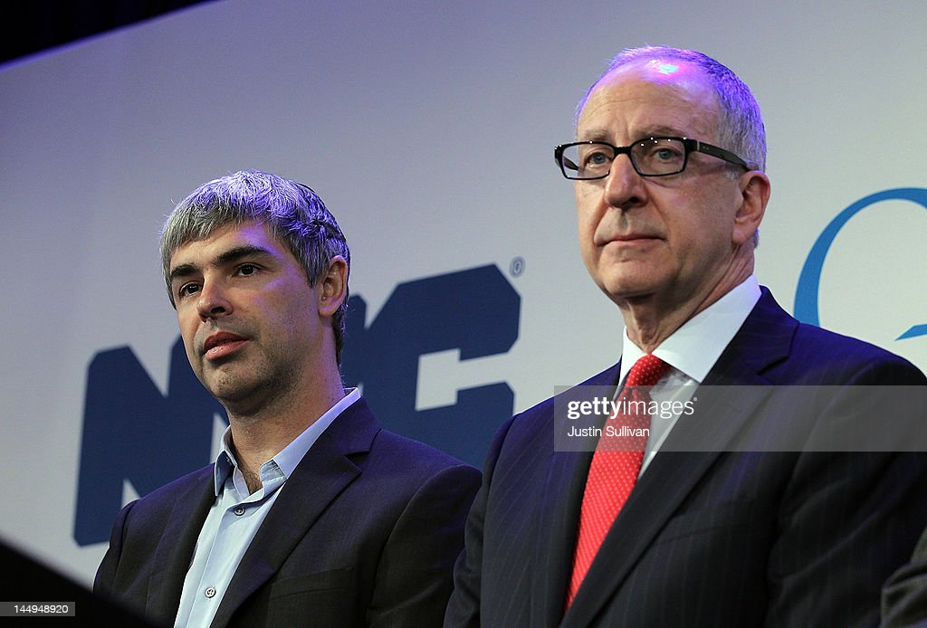 Google co-founder and CEO <a gi-track='captionPersonalityLinkClicked' href=/galleries/search?phrase=Larry+Page&family=editorial&specificpeople=753550 ng-click='$event.stopPropagation()'>Larry Page</a> (L) looks on with Cornell president David Skorton during a news conference at the Google offices on May 21, 2012 in New York City. Google announced today that it will allocate 22,000 square feet of space in its New York headquarters to CornellNYC Tech while the university completes its new campus on Roosevelt Island.
