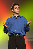 Google cofounder and president Sergey Brin delivers a keynote address at the Linux World Conference and Expo August 13 2002 in San Francisco...