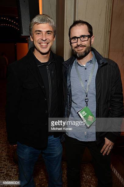Google Cofounder Larry Page and Medium's Evan Williams attend the Vanity Fair New Establishment Summit Cockatil Party on October 8 2014 in San...