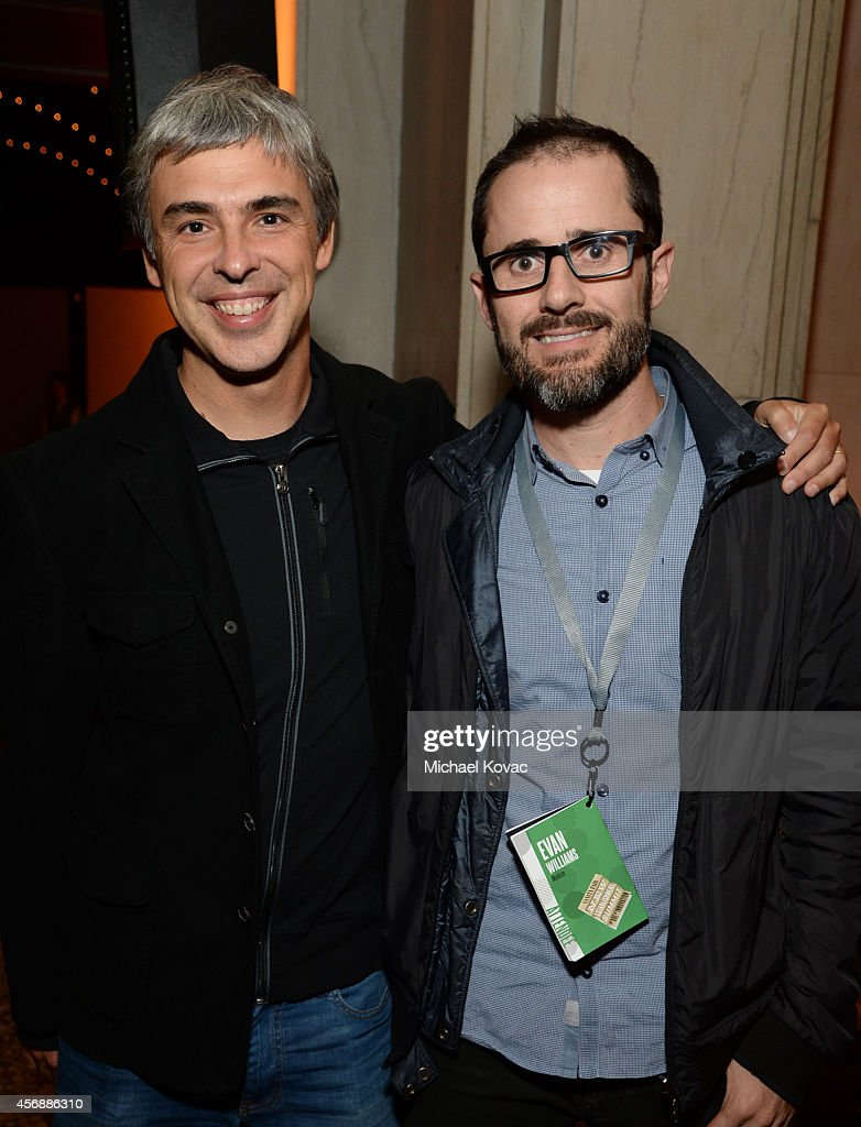 Google Co-founder Larry Page and Medium's Evan Williams attend the Vanity Fair New Establishment Summit Cockatil Party on October 8, 2014 in San Francisco, California.