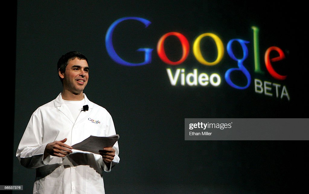 Google co-founder <a gi-track='captionPersonalityLinkClicked' href=/galleries/search?phrase=Larry+Page&family=editorial&specificpeople=753550 ng-click='$event.stopPropagation()'>Larry Page</a> delivers a keynote address at the International Consumer Electronics Show January 6, 2006 in Las Vegas, Nevada. The 1.6 million square-foot consumer electronics show, which runs through January 8, is expected to draw over 120,000 attendees.