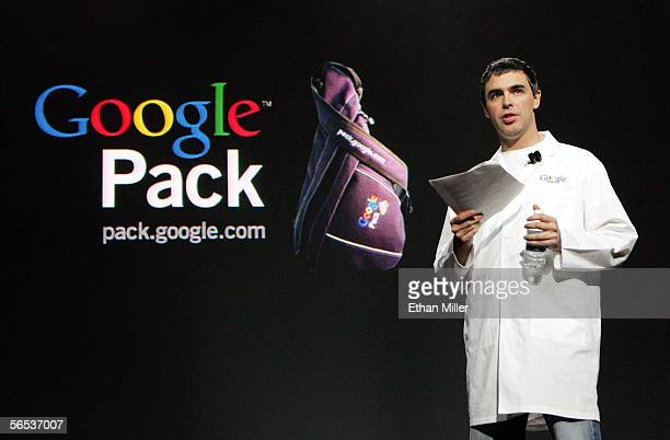 Google cofounder Larry Page introduces Google Pack during his keynote address at the International Consumer Electronics Show January 6 2006 in Las...