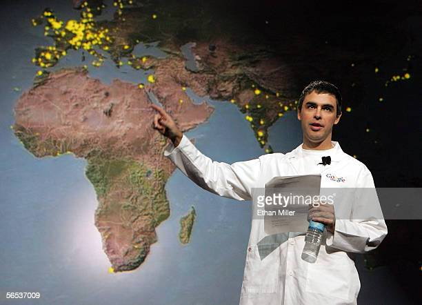 Google cofounder Larry Page uses a map to note areas of the world that do not have internet access as he delivers a keynote address at the...