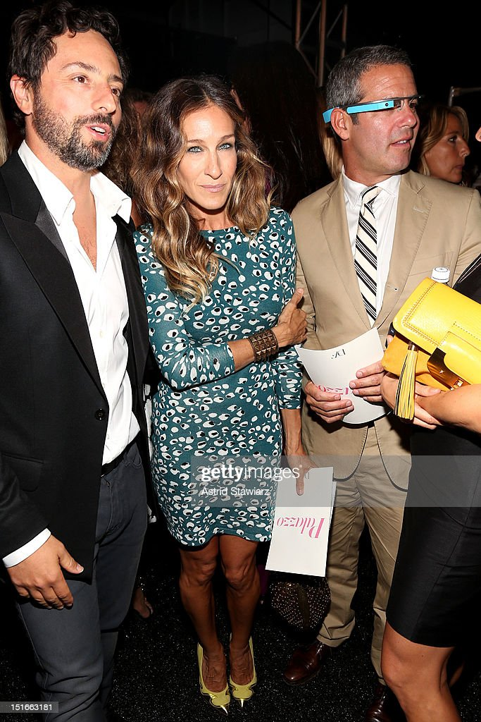 Google co-founder Sergey Brin, actress Sarah Jessica Parker and TV personality Andy Cohen pose backstage at the Diane Von Furstenberg Spring 2013 fashion show during Mercedes-Benz Fashion Week at The Theatre at Lincoln Center on September 9, 2012 in New York City.