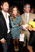 Google cofounder Sergey Brin actress Sarah Jessica Parker and TV personality Andy Cohen pose backstage at the Diane Von Furstenberg Spring 2013...