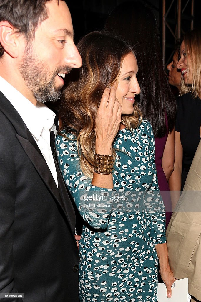 Google co-founder Sergey Brin and actress Sarah Jessica Parker pose backstage at the Diane Von Furstenberg Spring 2013 fashion show during Mercedes-Benz Fashion Week at The Theatre at Lincoln Center on September 9, 2012 in New York City.