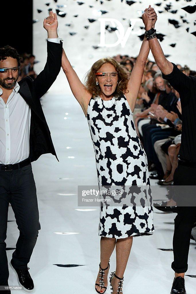 Google co-founder Sergey Brin and designer Diane Von Furstenberg walk the runway at the Diane Von Furstenberg Spring 2013 fashion show during Mercedes-Benz Fashion Week on September 9, 2012 in New York City.
