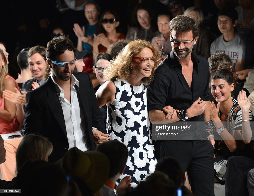 Google co-founder Sergey Brin and designers Diane Von Furstenberg and Yvan Mispelaere walk the runway at the Diane Von Furstenberg show during Spring 2013 Mercedes-Benz Fashion Week at The Theatre at Lincoln Center on September 9, 2012 in New York City.