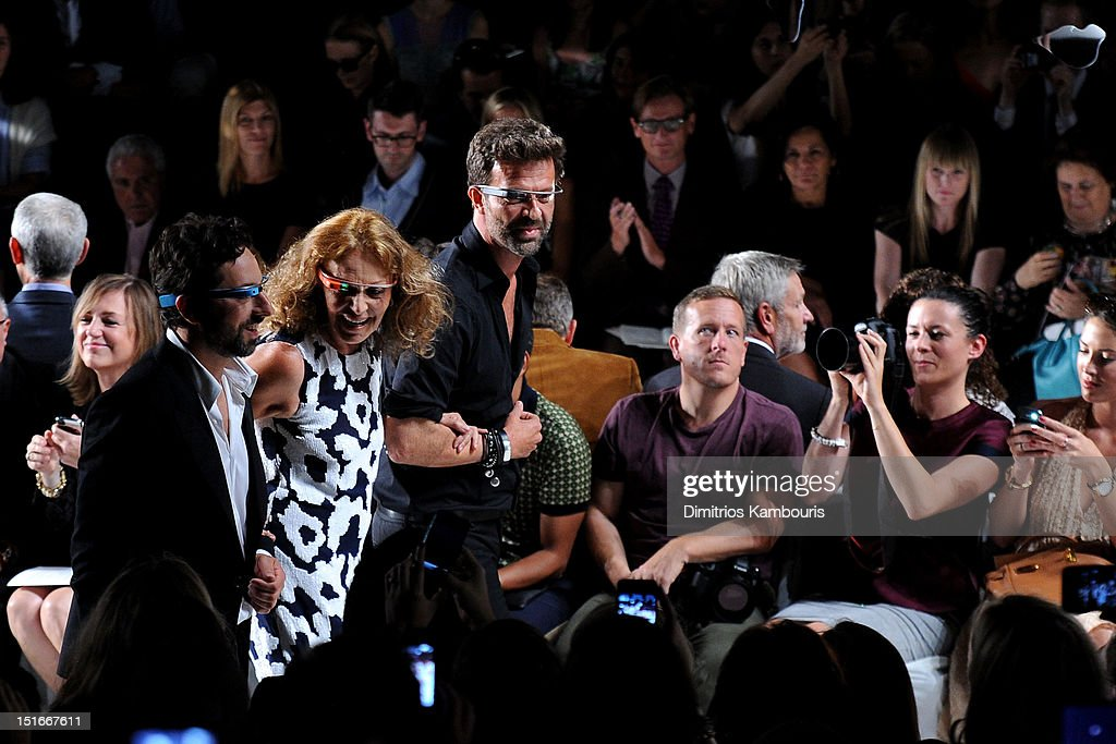 Google co-founder Sergey Brin and designers Diane Von Furstenberg and Yvan Mispelaere walk the runway at the Diane Von Furstenberg Spring 2013 fashion show during Mercedes-Benz Fashion Week at The Theatre at Lincoln Center on September 9, 2012 in New York City.