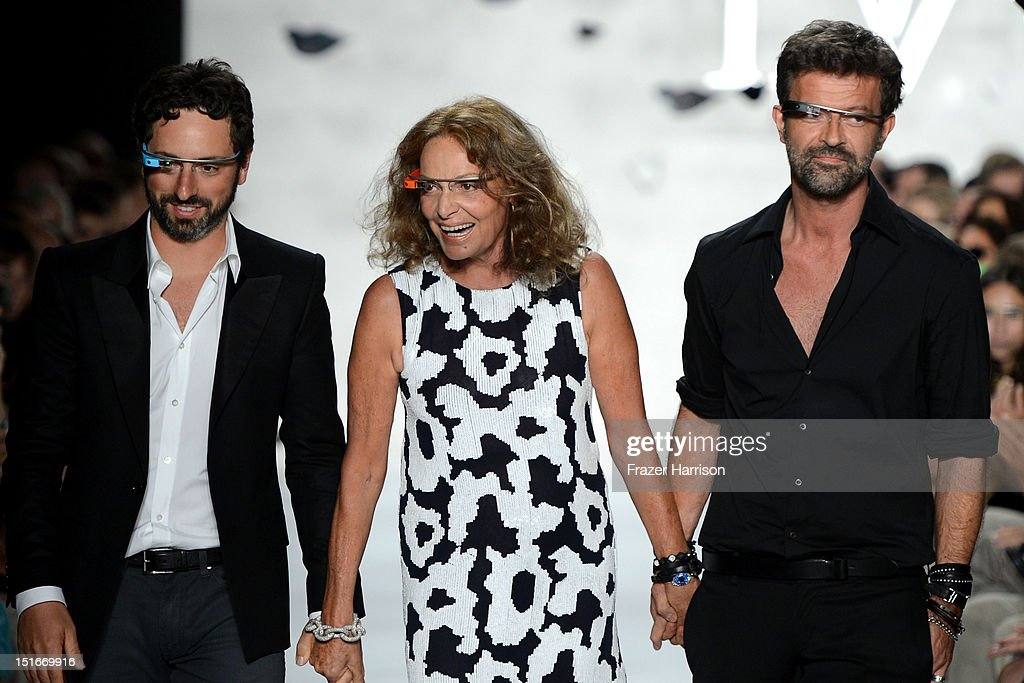 Google co-founder Sergey Brin, and designers Diane Von Furstenberg and Yvan Mispelaere walk the runway at the Diane Von Furstenberg Spring 2013 fashion show during Mercedes-Benz Fashion Week at The Theatre at Lincoln Center on September 9, 2012 in New York City.