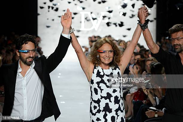 Google cofounder Sergey Brin and designers Diane Von Furstenberg and Yvan Mispelaere walk the runway at the Diane Von Furstenberg Spring 2013 fashion...