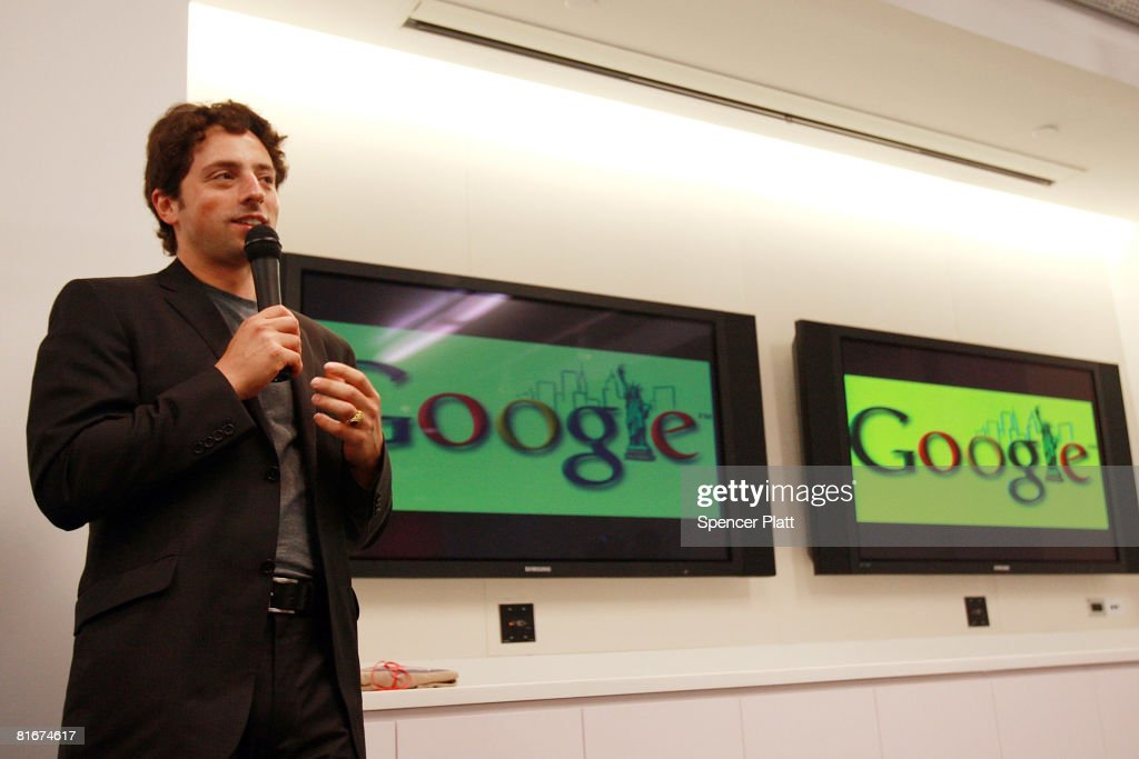 Google co-founder <a gi-track='captionPersonalityLinkClicked' href=/galleries/search?phrase=Sergey+Brin&family=editorial&specificpeople=753551 ng-click='$event.stopPropagation()'>Sergey Brin</a> opens the internet company's new office space inside historic Chelsea Market June 23, 2008 in New York City. The new space, which is across the street from the older Google office, will house around 300 employees bringing the total number of Google employees in New York City to around 1,500.